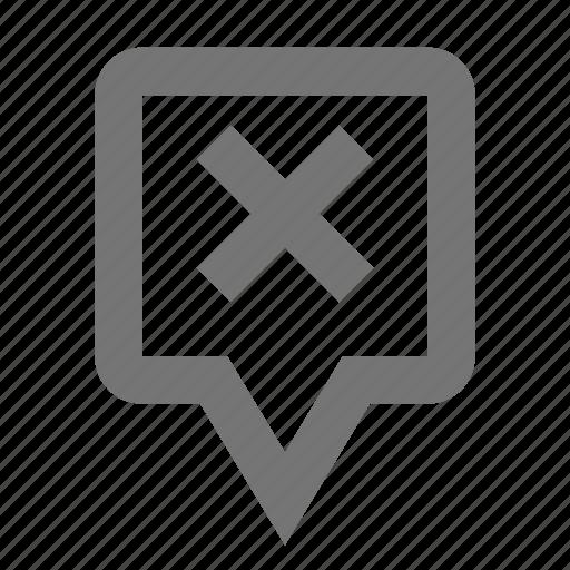 close, delete, location, map, marker, navigation, pin, pointer icon