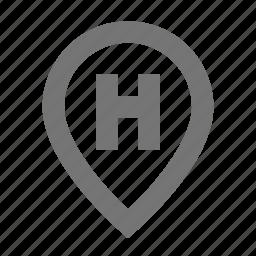 hospital, location, map, marker, navigation, pin, pointer icon