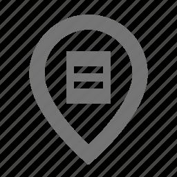 list, location, pin icon