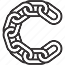 c, chain, letter, link icon