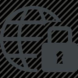 closed, key, lock, safe, secure, world icon