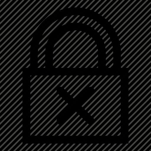 access, closed, lock, locked, no access, padlock, permisson icon