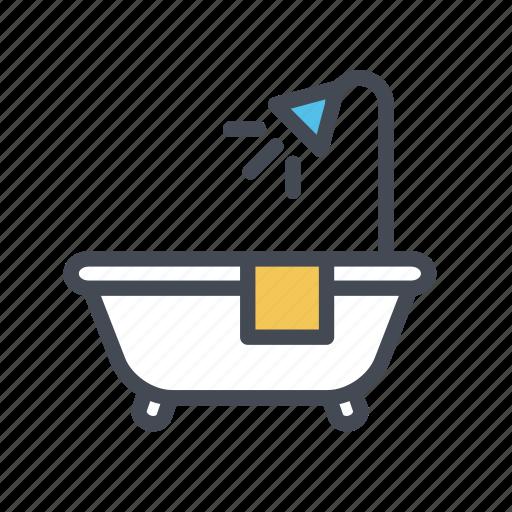 bathing, bathroom, bathtub, shower icon
