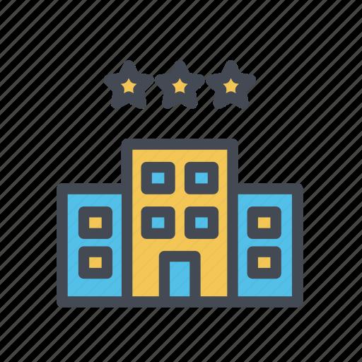 hotel, three stars, tourism, vacation icon