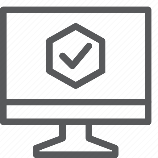 approved, check, completed, computer, done, hexagon, login, status icon