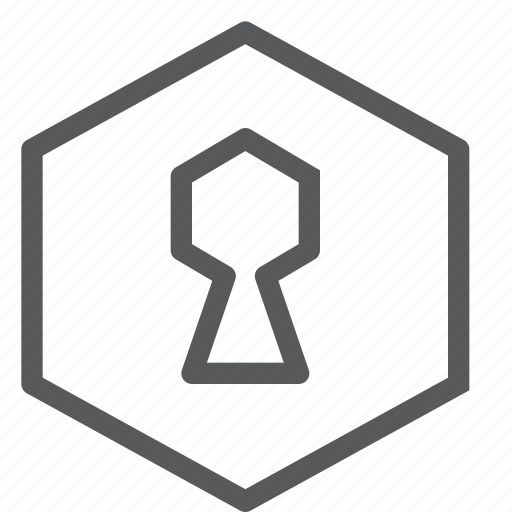 hexagon, hole, key, lock, login, private, safe, secure icon