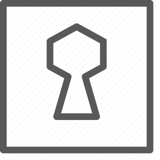 box, hole, key, lock, private, safe, secure, square icon