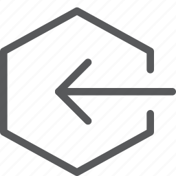 arrow, enter, hexagon, in, log, login, sign in icon