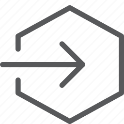 arrow, exit, hexagon, log, login, out, sign out icon