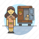 cargo, delivery, deliveryman, female, ground, logistic, mailman, man, package, service, transport, truck