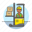 lift, management, logistic, male, box, forklift, inventory, electric, jack, man, warehouse