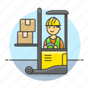 male, lift, forklift, electric, jack, box, logistic, inventory, man, warehouse, management