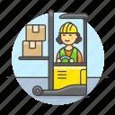 box, electric, female, forklift, inventory, jack, lift, logistic, man, management, warehouse
