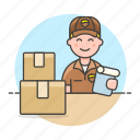 box, check, delivery, half, logistic, mailman, male, man, package, service, supply, transport
