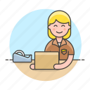check, transport, man, delivery, female, half, logistic, box, package, mailman, service, supply