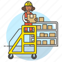 box, female, inventory, ladder, logistic, management, package, rack, warehouse, worker