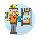 management, logistic, package, inventory, rack, warehouse, worker, full, box, female
