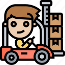 forklift, warehouse, factory, cargo, loading