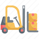 forklift, logistic, package, parcel, product, shipping, warehouse
