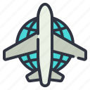 global, network, plane icon