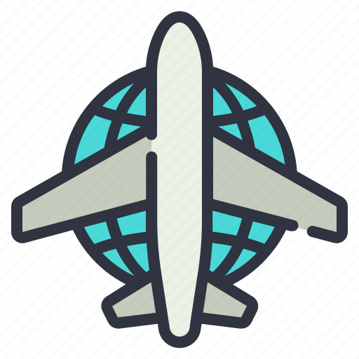 global, network, plane icon