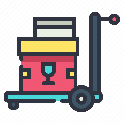 delivery, fragile, package, trolley icon