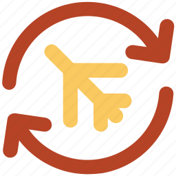 aircraft, airplane, aviation, flight, jet, reload arrows icon