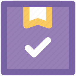 approve, cargo, delivery package, distribution, shipment, tick mark icon