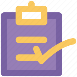 business catalogue, checklist, clipboard, index, office supplies, text sheet, tick mark icon