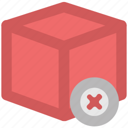 canceled delivery, canceled sign, declined mark, delivery box, delivery rejection, stop delivery, wrong delivery icon