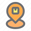 box, delivery, location, logistic, package, pin icon