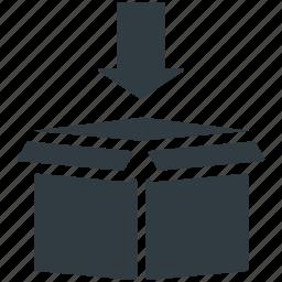 carton box, down arrow, download, open box, packaging icon