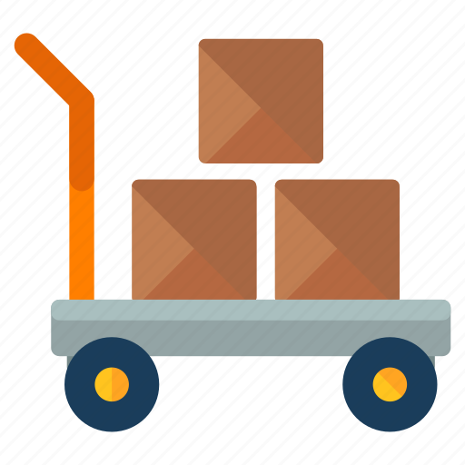 boxes, crate, delivery, logistic, package, trolley icon