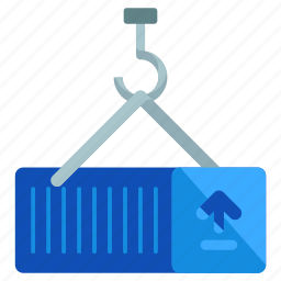 arrow, container, crane, hook, up icon