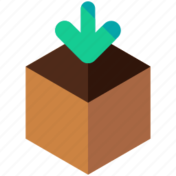 arrow, box, delivery, down, logistic, package, packing icon