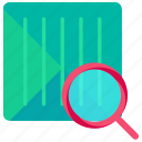 bar code, code, delivery, logistic, magnifier, search icon