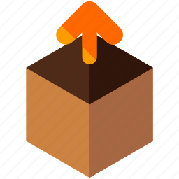 arrow, delivery, logistic, package, unpacking, up icon