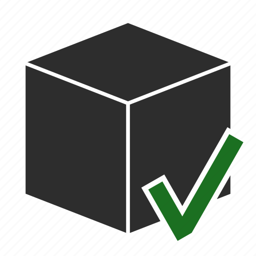 box, delivered, delivery, done, package, secure icon