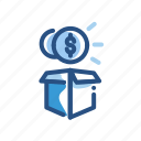 box, dollar, finance, money, package icon