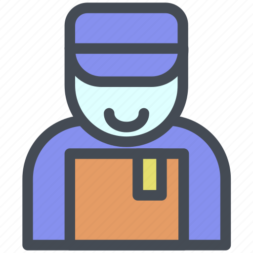 box, bussiness, courier, delivery, logistic, man, package icon