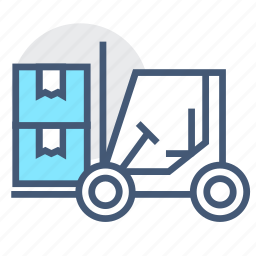 forklift, forklift truck, haul, logistics, machine, machinery, transportation icon