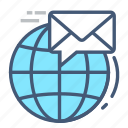 communication, email, globe, inbox, laptop, receive, world icon
