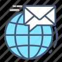 communication, email, globe, inbox, laptop, receive, world
