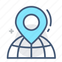 address, geography, globe, highlight, location, marking, world icon