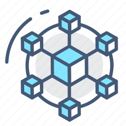 connect, hub, network, organization, shapes, share, teamwork icon