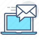 communication, email, envelope, inbox, laptop, receive, send