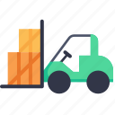 forklift, industrial, industry, lift, loading, logistic, transportation icon
