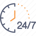 assistance, business, delivery 24 hrs., hour, service, support, time icon
