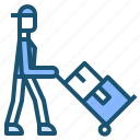 commerce, delivery, man, package, trolly icon