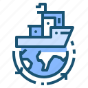 freight, globe, logistic, sea, transport icon